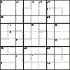 Normal sudoku rules apply, except the numbers in the cells contained within dotted lines add up to the figures in the corner. No number can be repeated within each shape formed by dotted lines Sudoku Puzzles, Printable Puzzles, Dotted Line, Brain Teasers, Math Games, How To Apply, Challenges, Numbers, Corner