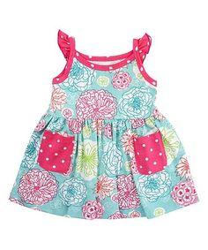 Another great find on #zulily! Blue & Pink Tropical Garden Knit Dress - Infant #zulilyfinds