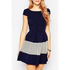 Stylish Scoop Neck Short Sleeve Spliced Women's Flare Dress