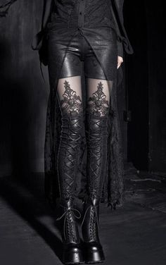 Leather lace up leggings on RebelsMarket @ http://www.rebelsmarket.com/products/gothic-imitation-leather-lace-up-leggings-13626