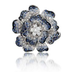 Diamond and Sapphire Brooch Pin by Leo Pizzo