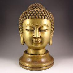 Vintage Chinese Brass Buddha Head Statue