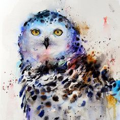 SNOWY OWL 8 x 10 Colorful Ceramic Tile by DeanCrouserArt on Etsy, $39.00