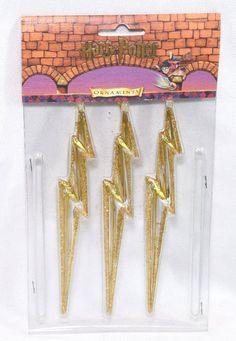 "Harry Potter Ornaments 6"" Lightning Bolt Wizard Symbol Christmas Tree Decor 3 PK"