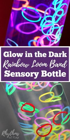 This glow in the dark loom band sensory bottle will keep your kids entertained as the gentle motion of the loom bands gently calm them.