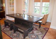 6 foot salvaged wood trestle table / with benches by ModernRust, $579.00