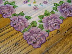 Vintage Handkerchief Purple Roses Tissue Linen by BeautifulPurpose
