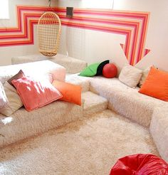 """Perpetual Light Vintage Etsy Basement """"conversation pit"""" in the house next door to where I grew up; quite literally unchanged since 1974 Living Room 70s, Sunken Living Room, Casa Retro, Retro Home, Conversation Pit, Retro Interior Design, Studio Interior, 70s Decor, Vintage Decor"""