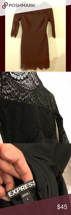 Express lace see through black evening dress Worn once! Like new! Express Dresses Mini