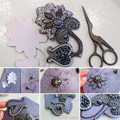 DIY Embroidered Brooch 'Night Flower' | Вышиваем брошь «Ночной цветок» бисером и канителью