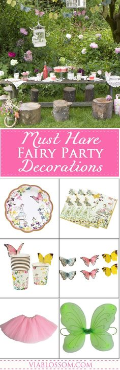 Our Must Have Fairy Party Decorations will help you create a magical Fairy Party for your little girl! Get all the whimsical Fairy Party ideas and supplies you will need for your next party! Fairy Birthday Party, Girl Birthday, Birthday Parties, Birthday Cakes, Fun Party Themes, Party Ideas, Fairy Tea Parties, Tea Party, Fabulous Birthday