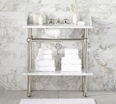 Apothecary Single Sink Console #potterybarn-there was a pedestal sink in the original bathroom