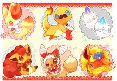 Tags: Fanart, Pokémon, Pixiv, Flareon, Eevee, Vulpix, Charmander, Litwick, Eeveelution, PNG Conversion, Mitiruni, Fanart From Pixiv, Shiny Pokémon, Fennekin