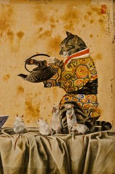 Cat Serving Tea, Stefano Faravelli, National Museum of Oriental Art, Rome, Italy.  photo by Rita Kamel