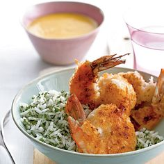Sweet coconut breading on the shrimp tames the heat of the mango sauce.View Recipe: Coconut Shrimp with Fiery Mango Sauce Cooking Recipes, Healthy Recipes, Cooking 101, Fun Recipes, Asian Cooking, Chef Recipes, Healthy Cooking, Healthy Meals, Delicious Recipes