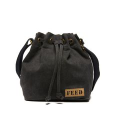 Our mini bucket in distressed black is a fashion-forward offering that hits perfectly at the hip and features a cinch closure, providing 25 school meals.