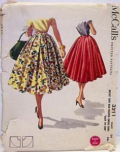 Vintage McCalls Pattern 3511 Full Cirlce Rockabilly 50s Skirt by Sassy By Design, via Flickr
