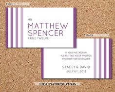Place Card Template - Ombre Stripe Plum -  DIY Editable Word Template Instant Download Printable