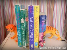 plastic dollar store animals into book ends!