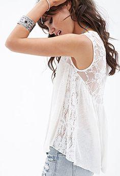 Crochet Lace Linen Tank