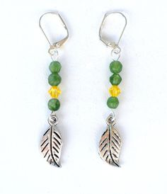 Silver Leaf Earrings with Green Jade Yellow by APerfectGem on Etsy