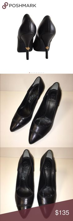 """NWOB Tory Burch Black Bernice Pumps Never worn. Marks on inside of shoe from sticker removal. Leather, suedue, & grosgrain ribbon upper. Soft leather lining. Leather sole with embossed logo. Stacked semi shine heel with metal logo piece. Heel height: 3.74"""" (95mm) Tory Burch Shoes Heels"""