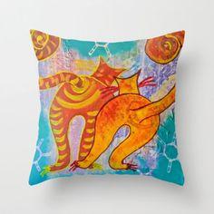 Cat Paradise Throw Pillow by Drica Lobo