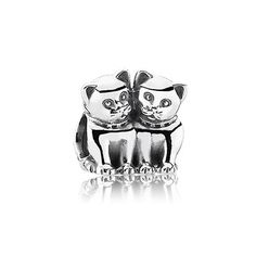 Cute PANDORA cat charm in silver $45 - Purrfect together. #cat #animal #pandorabracelet