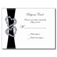 Brilliant Hearts: Black Ribbon and Diamond Hearts Post Card