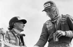 July 1977 British Grand Prix at Silverstone The Grand Prix winner Britain's James Hunt right with his old rival Niki Lauda who came second F1 Racing, Road Racing, James Hunt, British Grand Prix, The Golden Years, Good Times Roll, Formula One, One Pic, Ferrari