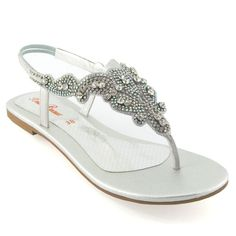 7f73ead581c3c1 Ladies Flat Diamante Toe Post Womens Slingback Sparkly Dressy Holiday  Sandals