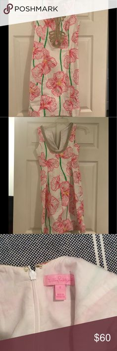 Pink floral Lily Pulitzer Dress Pink floral with metallic gold trim Lilly Pulitzer Dresses Mini