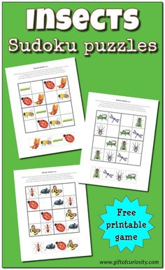 Insects Sudoku Puzzles {free printables}