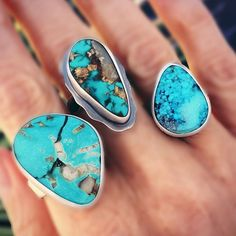 sistersofthesun - Every time I get in my stone stash and pull out new turquoise I fall in love once again. They look so great when they're set. heart_eyes