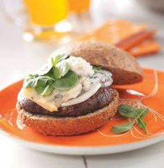 Portabello Mushroom Burger with Pear-Walnut Mayonnaise. This burger is bound to satisfy and taste delicious! Thanks Meadow Mushrooms for this healthy burger recipe!