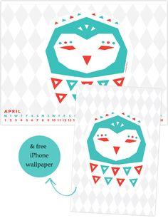 My Owl Barn: April Desktop Calendar and iPhone Wallpaper