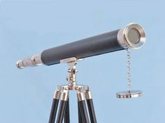 """Floor Standing Chrome/Black Harbor Master Telescope 60"""" from Handcrafted Nautical Decor - In stock and ready to ship"""