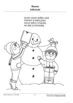 Pracovní listy Czech Republic, Ps, Preschool, Snoopy, Education, Winter, Fictional Characters, Winter Time, Kid Garden