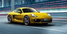 sport car porsche cayman yellow