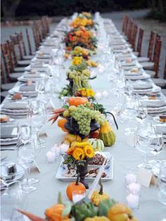 Use Fruits and Seasonal Veggies    Get creative with your centerpieces by mixing in some colorful fruits and vegetables in addition to flowers.