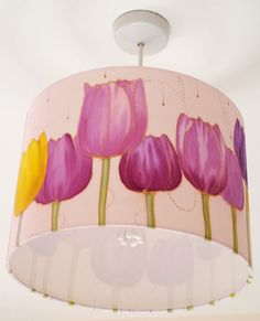 "Original Hand Painted & Hand Made silky LAMPSHADE ""TULIPS"" - Home Decor - UK Art - Unique Decoration - Home interior"