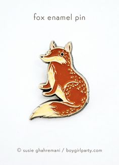 Enamel pin featuring a unique drawing of a red fox by Susie Ghahremani / boygirlparty.com #pingame