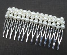 Three Row Pearl Silver Haircomb  Ideal For by Alwaysabridesmade, $12.50