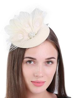 8444eb2a024 Zivyes Fascinator Hats for Women Pillbox Hat with Veil Headband and a  Forked Clip Tea Party