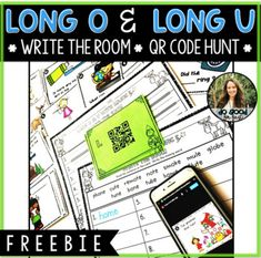 Long o and Long u with Silent E FREEBIE: Write the Room with QR Code Hunt! Long I Silent E, Long U Words, First Grade Phonics, Qr Codes, Word Work, Task Cards, Spelling, Students, Language