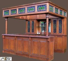 10 ft Large Solid Mahogany Lead Stained Glass Home Canopy Pub Bar Barybg | eBay