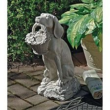 "Dog Offers Flowers Statue Man's Best Friend 19"" H,  Garden Figurine Yard Art NEW"