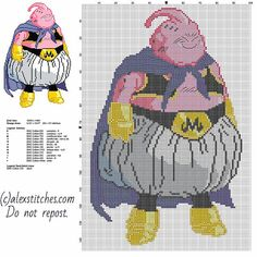 Majin Boo Dragon Ball cartoon character free cross stitch pattern 90 x 141 stitches 12 DMC colors