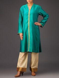 Teal Tissue Detail Sherwani Chanderi Kurta Sherwani, Kurti, Duster Coat, Dress Up, Teal, Jackets, Stuff To Buy, Design, Fashion