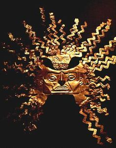 Inca gold sun mask, Central Bank Museum, Quito, Ecuador.  I have read that people who are terrified of clowns are likely to have had a life where they were sacrificed during Aztec times.